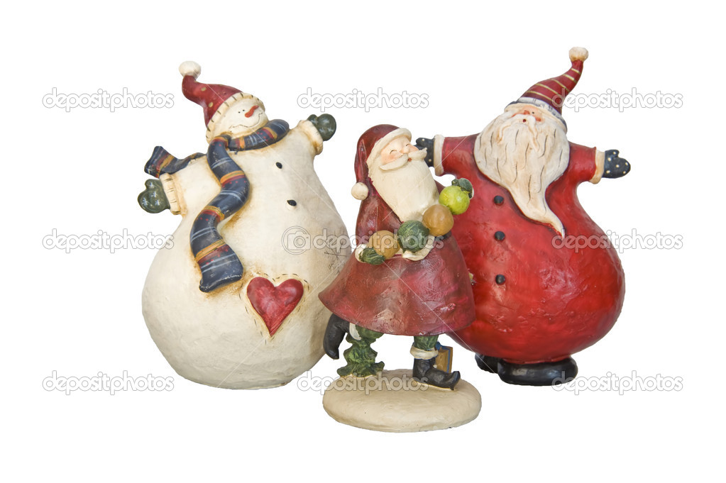 Christmas Decorations wooden ornaments Santa Claus and snowman ...