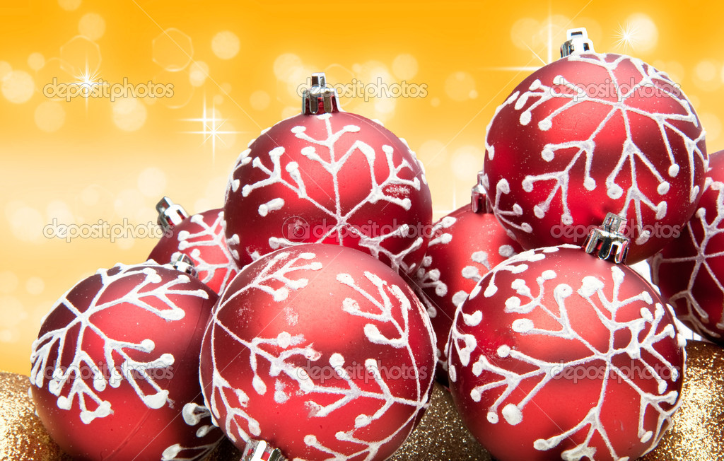 Christams bauble decoration against golden background  Stock Photo #7149401