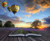 Hot air balloons lavender landscape magic book pages — Stock Photo