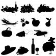 Set of vector silhouette images of fall festivals and harvest — Stock Vector #7141647