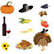 A set of thanksgiving icons  — Stockvectorbeeld