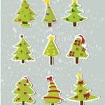 ensemble d'arbres de Noël sur autocollants — Vecteur