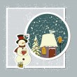 Stock Vector: A cute Christmas card with a snowman