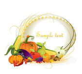 Autumn vector background vegetable and fruits — Stock Vector