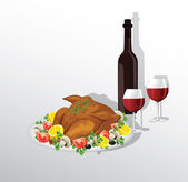Tasty crispy roast turkey or hen and vegetables,and wine — Stock Vector