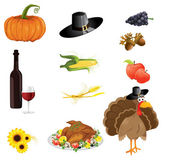 A set of thanksgiving icons — Stock Vector