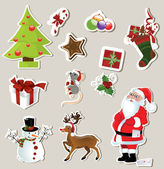 Collection of cute Christmas stickers for your design — Stock Vector