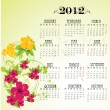 Calendar 2012 with pink flowers  — Stock vektor