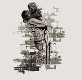 Baciare coppia — Vettoriale Stock