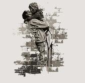 çift öpüşme — Stok Vektör