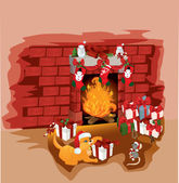 Christmas fireplace with cat and mouse vector illustration backg — Stock Vector