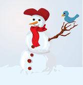snowman and bird — Stockvektor