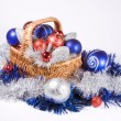 Basket with Christmas toys — Stock Photo