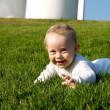 Smile Baby on grass — Stock Photo