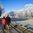 couple de personnes âgées marchant — Photo