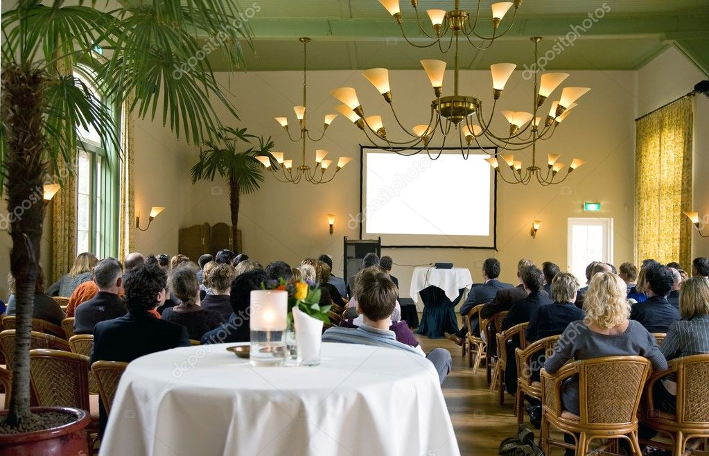 Audience at a conference in a classical surrounding — Stock Photo #7292670
