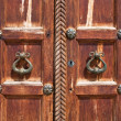 Vintage door handles on decorative doors — Stock Photo