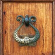 Handle of a wooden door - Stock Photo