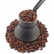 Old coffee pot with coffee beans — Stock Photo