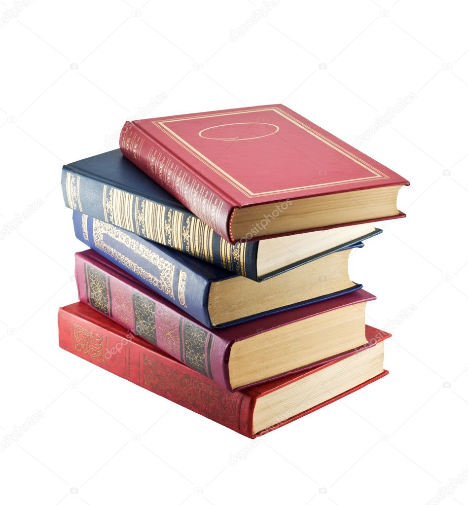 Stack of vintage books, isolated on white background  — Stock Photo #6844404