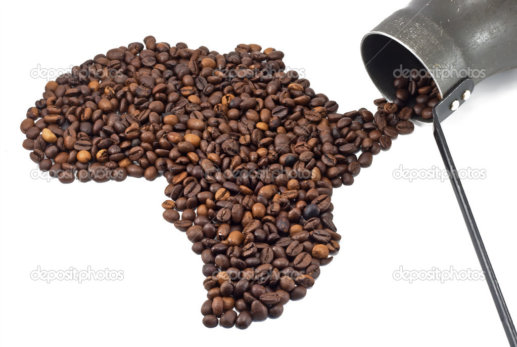 Coffee beans shaped like Africa and old coffee pot — Stock Photo #6844413