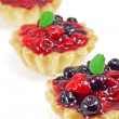 Three fresh blackberry and raspberry cakes — Stok fotoğraf