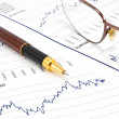 Stock Photo: Business background, financial data concept with pen and glasses