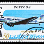 CUBA - CIRCA 1979: A stamp printed in Cuba, shows retro airplane — Stock Photo #7727188