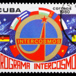 CUBA - CIRCA 1980: A stamp printed in Cuba, shows Intercosmos em — Stock Photo