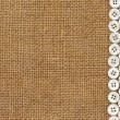 Nacre buttons on fabric texture background — Foto Stock