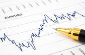 Financial chart with ballpoint pen — Stok fotoğraf