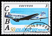 CUBA - CIRCA 1979: A stamp printed in Cuba, shows retro airplane — Stok fotoğraf