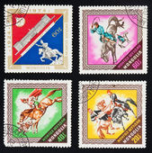 MONGOLIA - CIRCA 1974 : A collection of four stamps printed in M — Stok fotoğraf
