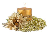 Candles with Christmas decorations — Stock Photo