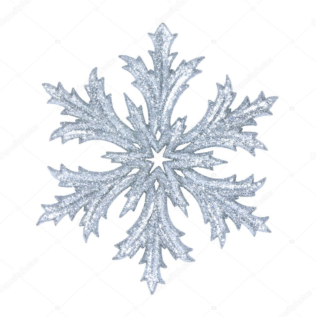 Shiny snowflake isolated on winter background — Stock Photo #7727233
