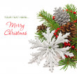 Christmas decoration snowflake on a fir tree — Lizenzfreies Foto