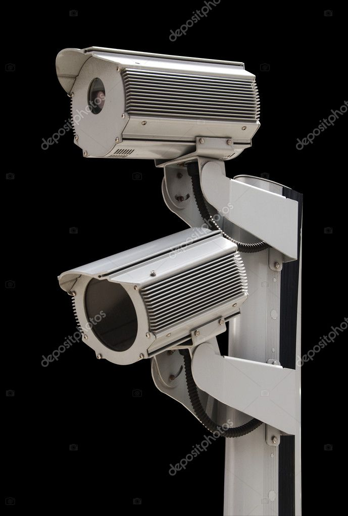 Surveillance cameras on black, isolated with clipping path — Stock Photo #6752256