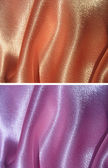Set of 2 draped satin backgrounds - peachy and lilac — Stock Photo