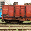 Old trains parking at trainstation - Stock Photo