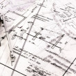 Business background made out of construction plans — Foto Stock