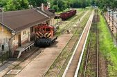 Old train parking at station — Stock Photo