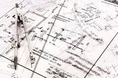 Business background made out of construction plans — Stock Photo