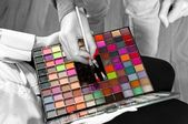 Makeup and cosmetics in selective colors — Stock Photo