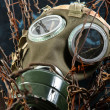 Apocalyptic gasmask in the bond of eternal darkness — Stock Photo