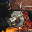 Circular saw in action — Stock Photo