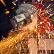 How to use a circular saw to make beautiful sparks - Foto Stock