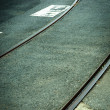 A curve in the road with railway — Stock Photo