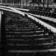 Black and white photo of old rail — Stock Photo