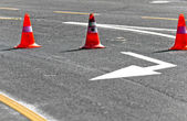 Road block with lanes — Stock Photo