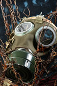 Apocalyptic gasmask in the bond of eternal darkness — Foto Stock